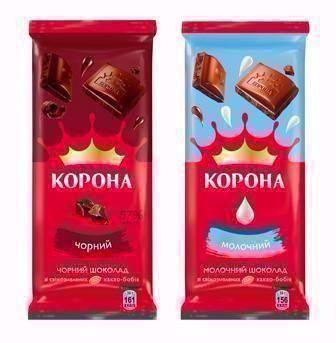 Шоколад чорний або молочний Корона 90 г