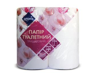 Папір туалетний тришаровий білий з тисненням «Премія»® 4 рулони/уп.
