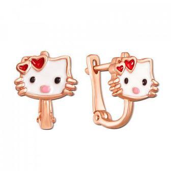 Золотые серьги Hello Kitty с эмалью Артикул 21305 кп