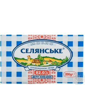 Масло 82% солодковершкове екстра Вологодське Селянське, 200 г