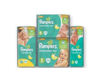 Подгузники Active Baby (2) New Baby Mini, 66 шт. Active Baby (3) Midi, 54 шт. Active Baby (4) Maxi, 46 шт. Active Baby (5) Junior, 36 шт.  Pampers