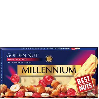 Шоколад Millennium Golden Nut білий з цільними лісовими горіхами і журавлиною 100г