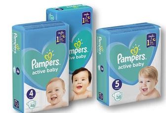 Підгузники Active Baby Midi 3/ Max 4/Junior 5 «Pampers» - 54/46/38 шт