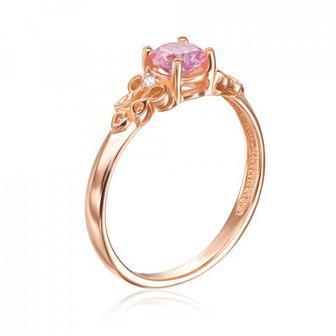 Золотое кольцо с фианитом Swarovski. Артикул 530242/01/0/1398