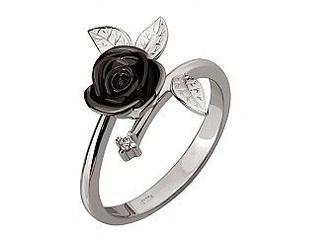 Золотое кольцо Роза с бриллиантом
