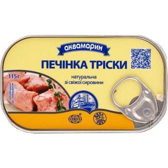Рибні консерви Аквамарин Печінка тріски нат 115г кл