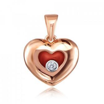 Золота підвіска «Серце» з фіанітом і емаллю. Артикул 31700/01/1/1191