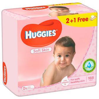 Серветки вологі Huggies Soft Skin 168шт.