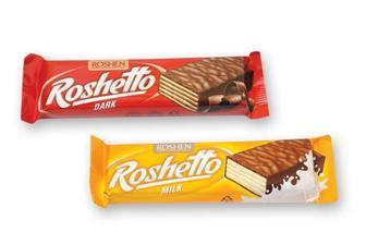 Батончик Рошен чорний шоколад та молочний Roshetto 32г