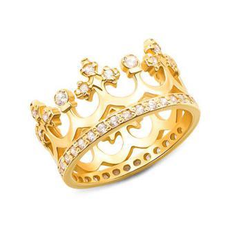 Золотое кольцо «Корона» с фианитами. Артикул 11920/eu