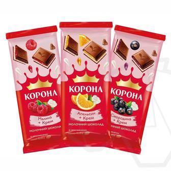 Шоколад молочний Малина-крем, Смородина-крем, Апельчин-крем Корона 85г