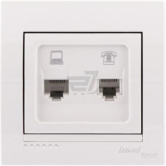 Розетка комп'ютерна + телефонна подвійна Lezard Lezard Deriy білий 702-0202-143