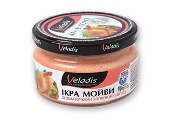 Ікра мойви в соусі зі шматочками копченого лосося Veladis 180 г