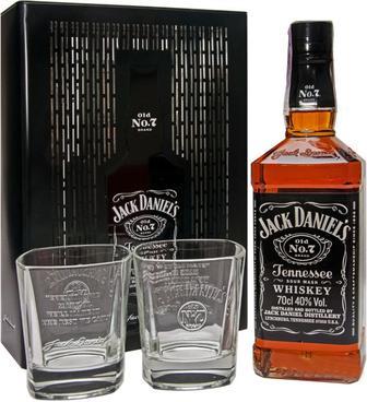 Виски Jack Daniels в металлической коробке + 2 стакана, 0.7л