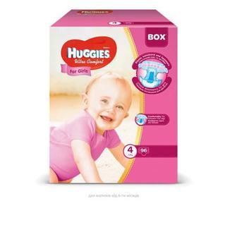 Підгузники Huggies Box UltraComfor д/дівч 4 7-16кг, 96шт,уп