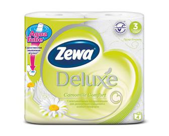 Папір туалетний Zewa Deluxe 3-шаровий ромашка 4 рулони/уп