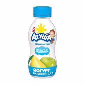 Йогурт «Агуша» дитячий яблуко-груша, 2,7%, 200г