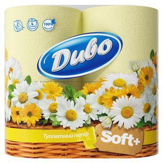 Туалетний папір Диво Soft жовтий 4шт