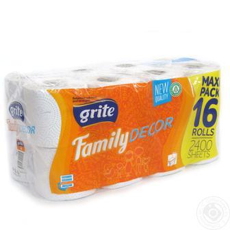 Скидка 21% ▷ Туалетная бумага Grite Family Decor 150 отрывов 3 слоя 16 рулонов