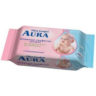 Серветки дитячі вологі  Aura 100шт