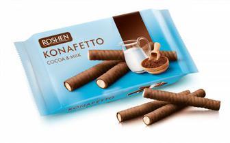 Вафельні трубочки Konafetto какао та молоко 156г