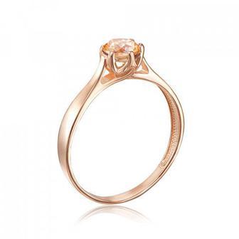 Золотое кольцо с фианитом Swarovski. Артикул 12138/01/0/1366