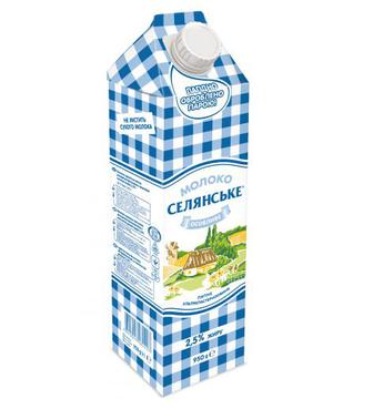 Молоко 2,5% Селянське Люстдорф 950г