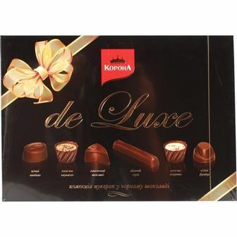 Цукерки Де люкс у чорному шоколаді та молочному шоколаді Корона 146г