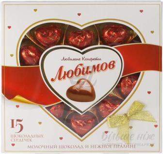 Цукерки Любимов Молочний шоколад та ніжне праліне 125 г (4820005195091)
