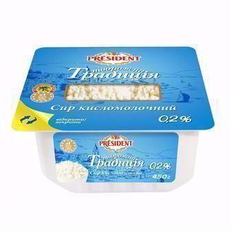 Сир кисломолочний 0.2% Творожна Традиція  President 450 г