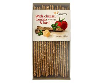 Хлібці Danvita хрусткі з сиром, сушеними томатами та базиліком, 130г