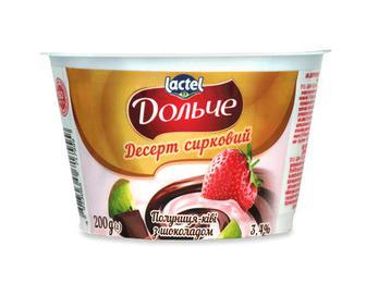 Десерт сирковий «Дольче» полуниця-ківі з шоколадом, 3,4% жиру, 200г