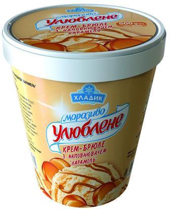 Морозиво улюблене крем-брюле с наполнителем Карамель Хладик, 500