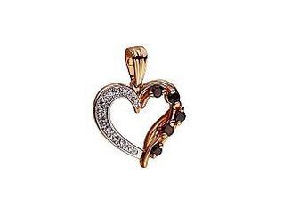 Золотой кулон Сердце с гранатами и фианитами Артикул 01-17499611