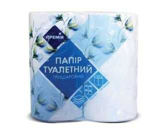 Папір туалетний тришаровий білий з блакитним тисненням «Премія»® 4 рулони/уп