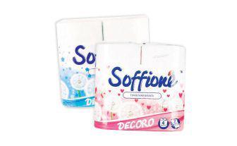 Туалетний папір Декоро синій, рожевий ТМ Соффіоне 4 шт