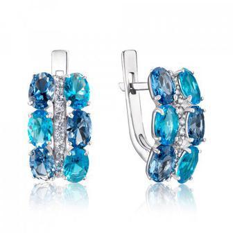 Серебряные серьги с кварцем London blue и фианитами. Артикул 2944/9р