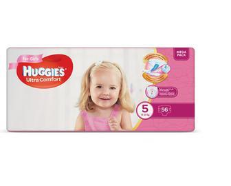 Підгузки Huggies Ultra Comfort для дівчаток 5 (12-22 кг) 56шт./уп