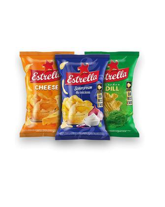 Классные картофельные чипсы ESTRELLA 125г