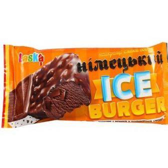 Морозиво   Ice Burger з печивом у кондитерській глазурі  Laska 90 г