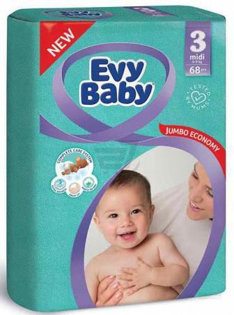 Підгузки Evy Baby Міді Джамбо упаковка 5-9 кг 68 шт.