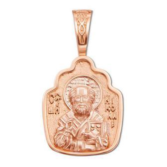 Золотая подвеска-иконка «Св. Николай Чудотворец». Артикул 31383