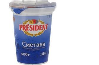 Сметана 15%, стакан, 350г, President