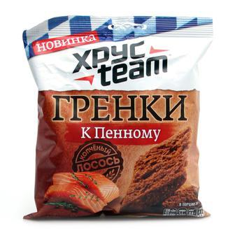 Гренки к пенному со вкусом копченого лосося ТМ Хрус team 55 г