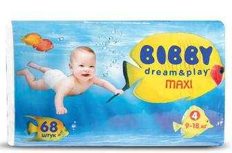 Підгузки Bibby Dream & Play Maxi (9–18 кг) 68 шт./уп